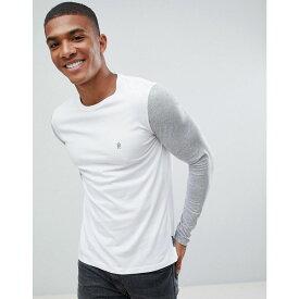 フレンチコネクション メンズ トップス 長袖Tシャツ【Contrast Sleeve Long Sleeve Top】Light grey mel