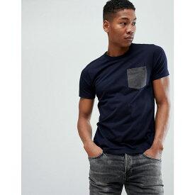 フレンチコネクション メンズ トップス Tシャツ【Contrast Pocket T-Shirt】Marine/charcoal mel