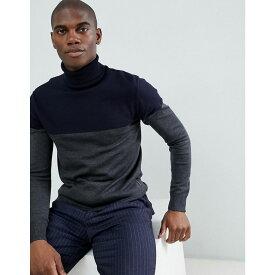 フレンチコネクション French Connection メンズ トップス ニット・セーター【Contrast Colour Block 100% Cotton Roll Neck Jumper】Marine / charcoal m