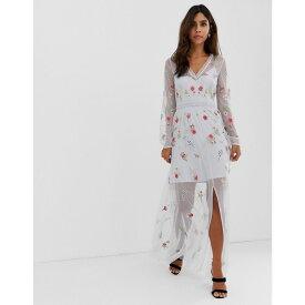 フレンチコネクション French Connection レディース ワンピース・ドレス ワンピース【Christy Bloom embroidered maxi dress】Sea breeze
