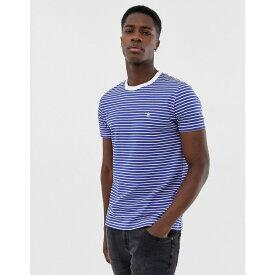 フレンチコネクション French Connection メンズ トップス Tシャツ【Feeder Yarn Dye Striped T-Shirt】White/bright blue