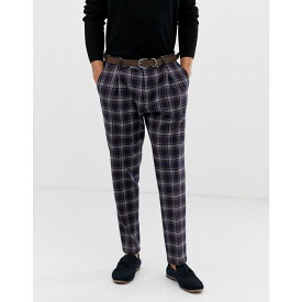 ベネトン United Colors of Benetton メンズ ボトムス・パンツ スラックス【United Colors Of Benetton slim fit suit trouser with stretch in navy check print】Navy