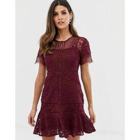 フレンチコネクション French Connection レディース ワンピース・ドレス ワンピース【Chante lace midi dress】Raspberry wine