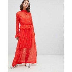 ミニマム Minimum レディース ワンピース・ドレス ワンピース【printed maxi dress with ruffle waist】Fiery red
