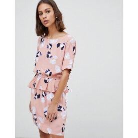 ミニマム Minimum レディース ワンピース・ドレス ワンピース【floral peplum hem mini dress】Dusty pink