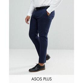 エイソス ASOS DESIGN メンズ ボトムス・パンツ スキニー・スリム【Plus skinny smart trousers in navy】Navy