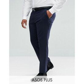 エイソス ASOS DESIGN メンズ ボトムス・パンツ スキニー・スリム【Plus slim smart trousers in navy】Navy