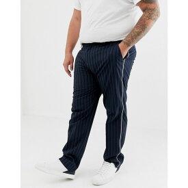 エイソス ASOS DESIGN メンズ ボトムス・パンツ スキニー・スリム【Plus skinny smart trouser in stripe with white piping】Black