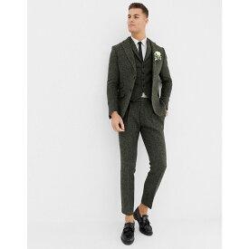 エイソス ASOS DESIGN メンズ ボトムス・パンツ スラックス【slim suit trousers in 100% wool Harris Tweed khaki micro check】Khaki