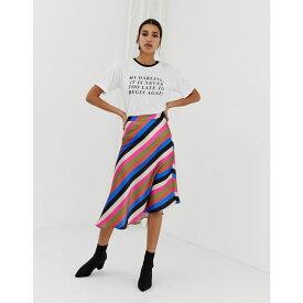 ネオンローズ Neon Rose レディース スカート ひざ丈スカート【asymmetric midi skirt in luxe stripe】Multi