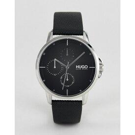 ヒューゴ ボス HUGO メンズ 腕時計【1530022 Focus black dial leather strap watch in black】Black