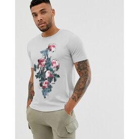 ヒューゴ ボス HUGO メンズ トップス Tシャツ【Droses graphic print t-shrt in light grey】Light grey