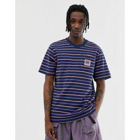 ビリオネアボーイズクラブ Billionaire Boys Club メンズ トップス Tシャツ【woven stripe pocket t-shirt in navy】Navy