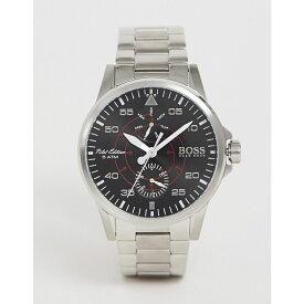 ヒューゴ ボス BOSS メンズ 腕時計【Hugo Boss aviator bracelet watch in silver】Silver