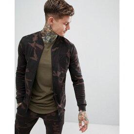 シックシルク SikSilk メンズ アウター ブルゾン【zip jersey bomber jacket in camo】Camo
