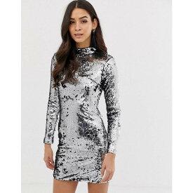 フォーエバーユニーク Forever Unique レディース ワンピース・ドレス ワンピース【sequin long sleeve dress】Silver