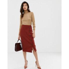 ウェアハウス Warehouse レディース スカート ひざ丈スカート【midi skirt with button detail in rust】Rust