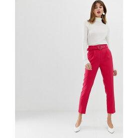 ウェアハウス Warehouse レディース ボトムス・パンツ【tapered trousers with o-ring belt in pink】Pink