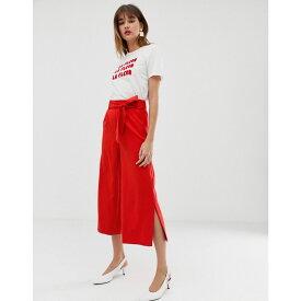 ウェアハウス Warehouse レディース ボトムス・パンツ クロップド【wide leg cropped trousers with tie belt in red】Red