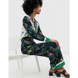 ウェアハウス Warehouse レディース ボトムス・パンツ【wide leg trousers in scarf print】Green print