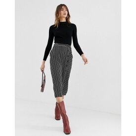 ウェアハウス Warehouse レディース スカート ひざ丈スカート【midi skirt with button detail in black stripe】Black stripe