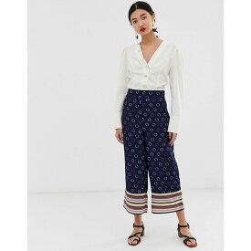 ウェアハウス Warehouse レディース ボトムス・パンツ【wide leg trousers in spot and stripe】Navy