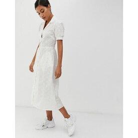 ウェアハウス Warehouse レディース ワンピース・ドレス ワンピース【x Shrimps shirt dress with daisy embroidery in white】Cream