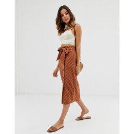 ウェアハウス Warehouse レディース スカート ひざ丈スカート【linen midi skirt in stripe】Red