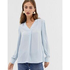 ウェアハウス Warehouse レディース トップス ブラウス・シャツ【blouse with v-neck in light blue】Light blue
