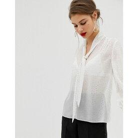 ウェアハウス Warehouse レディース トップス ブラウス・シャツ【blouse with pussy bow tie in gold stars print】White