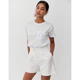 ウェアハウス Warehouse レディース トップス Tシャツ【x Shrimps t-shirt with seahorse embroidered pocket in white】White