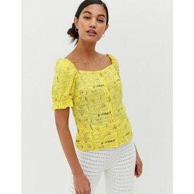 ウェアハウス Warehouse レディース トップス ブラウス・シャツ【x Shrimps puff sleeve blouse in yellow print】Yellow