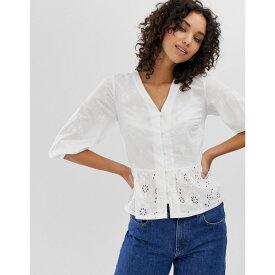 ウェアハウス Warehouse レディース トップス ブラウス・シャツ【broderie peplum blouse in white】Cream