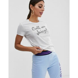 ジューシークチュール Juicy Couture レディース トップス Tシャツ【Black Label call me juicy crystals slogan t-shirt】White