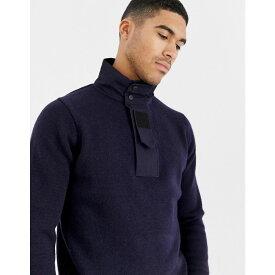 ジースター ロゥ G-Star メンズ トップス ニット・セーター【half zip knitted jumper in navy with neck detail】Dk saru blue