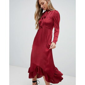 フォーエバーニュー Forever New レディース ワンピース・ドレス ワンピース【plunge front midi dress with ruched sleeve and pussybow in burgundy】Burgundy