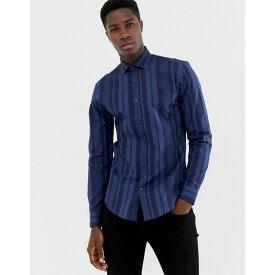 モス ブラザーズ MOSS BROS メンズ トップス シャツ【Moss London skinny fit shirt with bold navy stripe】Navy