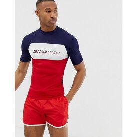 トミーヒルフィガー Tommy Sport メンズ 水着・ビーチウェア ラッシュガード【colour block short sleeved rashguard with chest logo in navy/red/white】Black iris