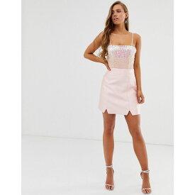 コレクティブザラベル Collective The Label レディース スカート ひざ丈スカート【tailored a line skirt in pink sateen】Pale pink