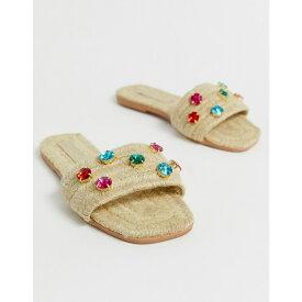 エイソス ASOS DESIGN レディース シューズ・靴 エスパドリーユ【Jayme gem embellished espadrille sandals】Natural