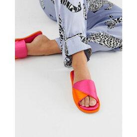 エイソス ASOS DESIGN レディース シューズ・靴 スリッパ【Nea satin twist slider slippers in bright pink and orange】Pink and orange