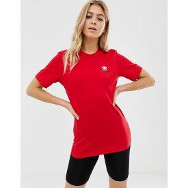 アディダス adidas Originals レディース トップス Tシャツ【Essential mini logo t-shirt in red】Burgundy
