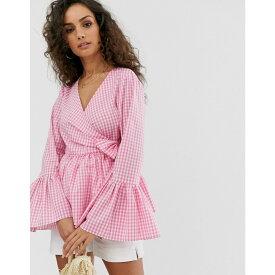 エイソス ASOS DESIGN レディース トップス ブラウス・シャツ【wrap top in cotton with fluted sleeve in pink gingham check print】Gingham