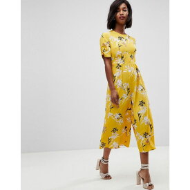 エイソス ASOS DESIGN レディース ワンピース・ドレス オールインワン【ASOS Tea Jumpsuit with Ruched Sleeve in Floral Print】Yellow floral