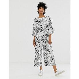 エイソス ASOS DESIGN レディース ワンピース・ドレス オールインワン【tie waist jumpsuit in mono abstract spot print】Mono abstract spot