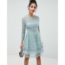 エイソス ASOS DESIGN レディース ワンピース・ドレス ワンピース【Premium Lace Mini Skater dress with long sleeves】Mint green