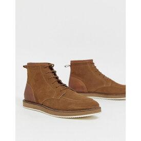 エイソス ASOS DESIGN メンズ シューズ・靴 ブーツ【lace up boots in tan suede with white sole】Tan