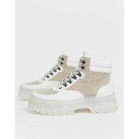 エイソス ASOS DESIGN メンズ シューズ・靴 ブーツ【lace up boots in white with white chunky sole】White