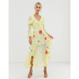 エイソス ASOS DESIGN レディース ワンピース・ドレス ワンピース【embroidered wrap maxi dress】Yellow