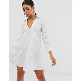 エイソス ASOS DESIGN レディース ワンピース・ドレス ワンピース【tiered collared cotton smock mini dress with long sleeves】White